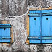 Old Blue Shutters Art Print