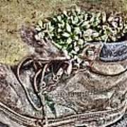 Old Boot Flowerpot Art Print