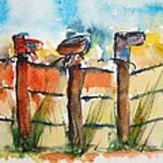 Old Boots On Old Fence Art Print