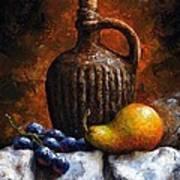 Old Bottle And Fruit II Art Print