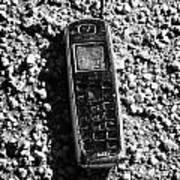 Old Broken Smashed Thrown Away Cheap Cordless Phone Usa Print by Joe Fox