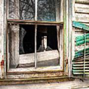 Old Broken Window And Shutter Of An Abandoned House Art Print