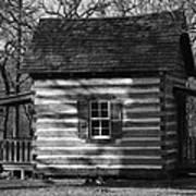 Old Cabin At Fort Washita In Bw Art Print