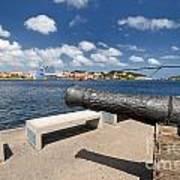 Old Cannon And Queen Juliana Bridge Curacao Art Print