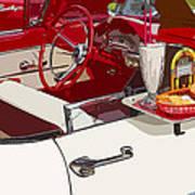 Old Car At Drive In Restaurant Art Print