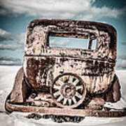 Old Car In The Snow Art Print