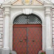 Old Carved Red  Door Art Print