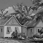 Old Cayman Cottages Monochrome Art Print