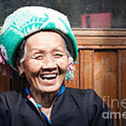 Old Chinese Zhuang Minority  Lady Smiling China Art Print