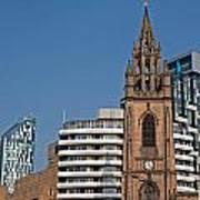 Old Church Amongst New High Rise Modern Apartments Art Print
