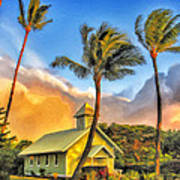 Old Church At Honokawai Maui Art Print