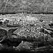 Old City Of Toledo Bw Art Print