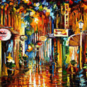 Old City Street - Palette Knife Oil Painting On Canvas By Leonid Afremov Art Print