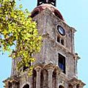 Old Clock Tower In Rhodes City Greece Art Print