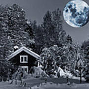 Old Cottage And Landscape With A Full Moon Art Print