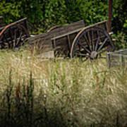 Old Cotton Bale Wagons Art Print by Allen Biedrzycki