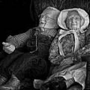 Old Couple Mannequins In Shop Window Display Art Print
