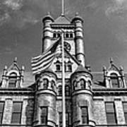 Old Dupage County Courthouse Flag Black And White Art Print