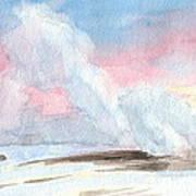 Old Faithful Sunrise Watercolor Painting Art Print