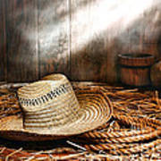 Old Farmer Hat And Rope Art Print