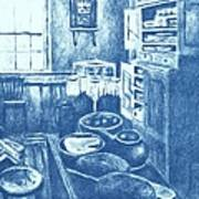 Old Fashioned Kitchen In Blue Art Print