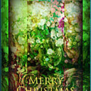 Old Fashioned Merry Christmas - Roses And Babys Breath - Holiday And Christmas Card Art Print