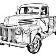 Old Flat Bed Ford Work Truck Illustration Art Print