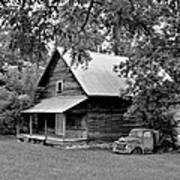 Old Ford And Cabin Art Print by Bob Jackson