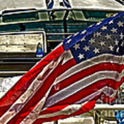 Old Glory And The Bay Art Print
