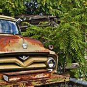 Old Green Truck Art Print