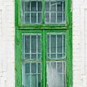 Old Green Wooden Window Art Print