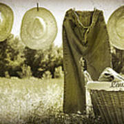 Old Grunge Photo Of Jeans And Straw Hats  Art Print
