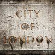 Old Grunge Stone Board With City Of London Text Art Print