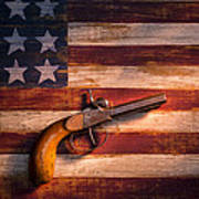 Old Gun On Folk Art Flag Art Print