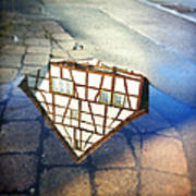 Old half-timber house upside down - water reflection Art Print