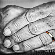 Old Hands With Wedding Band Art Print