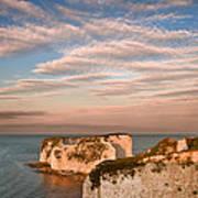 Old Harry Rocks Jurassic Coast Unesco Dorset England At Sunset Art Print by Matthew Gibson