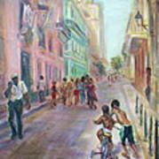Old Havana Street Life - Sale - Large Scenic Cityscape Painting Art Print