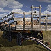 Old Hay Wagon In The Prairie Grass Art Print