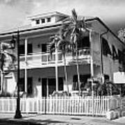 Old Historic Wooden Two Storey Building With White Picket Fence Key West Florida Usa Print by Joe Fox