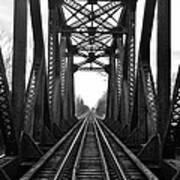 Old Huron River Rxr Bridge Black And White  Art Print