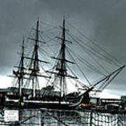 Old Ironsides Blue Tone Print by Linda Ryan
