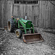 Old Tractor By The Barn Etna New Hampshire Art Print