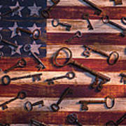Old Keys On American Flag Art Print