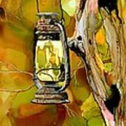 Old Lantern In Camo Art Print