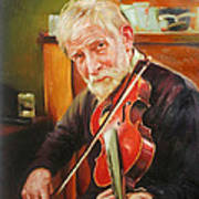 Old Man And Fiddle Art Print