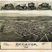Old Map Of Decatur Texas 1890 Art Print