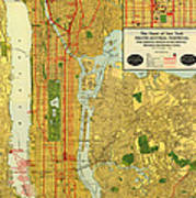 Old Map Of New York Central Railroad Manhattan Map 1918 Art Print