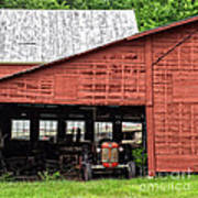 Old Massey Ferguson Red Tractor In Barn Art Print