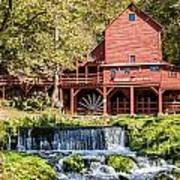 Old Mill And Waterfall Art Print